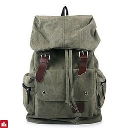 Men Backpack Canvas Sports Outdoor Clasp Lock Beige Purple Brown Army Green Blue