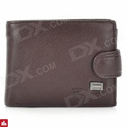 Stylish Business Soft PU Leather Folding Men Wallet - Deep Brown