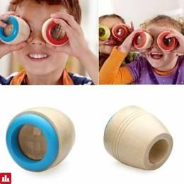 Child Wooden Kaleidoscope Polygon Mirror Magical Bee Eye Funny Toys