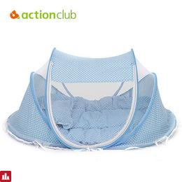 Actionclub Baby Crib Bed With Pillow Mat Set Portable Foldable Crib Netting Newborns Infant Bedding Sleep Travel Bed 0-3 Years