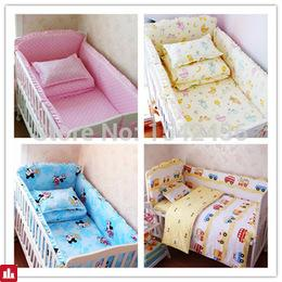 HOT 6 Pcs/sets baby bedding set 100% cotton  crib bumper  baby cot sets baby bed bumper free shipping
