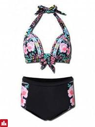 Women Plus Size Sexy Sleeveless Halter Floral Print Push Up High-Waisted Bikini Set