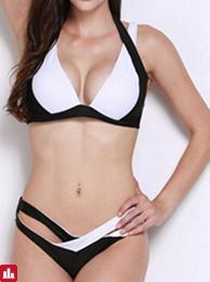 Women Color Block Criss-Cross Sexy Wire Free Bikini Set Bandage Bathing Suits