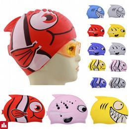 Silicone Cute Children Cartoon Swimming Cap Child Diving Waterproof Swimming Hat Fish Patterns Head Covers