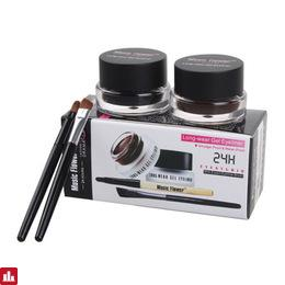 Hot 2 In 1 Waterproof Brown & Black Gel Eye Liner Set Kit Makeup Tools 24Hours Long Wear Gel Eyeliner With Brush 1007# 2pcs\lot