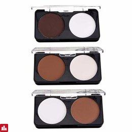 2 Colors Makeup Face Contour Kit Matte Pressed Powder Highlighter Concealer Palette