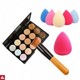 15 Colors Makeup Concealer Palette Base Foundation Powder Face Contour Cream Set+ Wooden Handle Makeup Brush+Sponge Puff