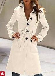 Stylish Women's Flat Collar Long Sleeve Solid Color Coat