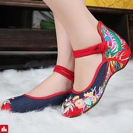 Women's Shoes Denim Spring Fall Embroidered Shoes Mary Jane Flat Heel Button for Navy