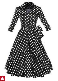Stylish Flat Collar Polka Dot Waist Lace-Up Dress For Women